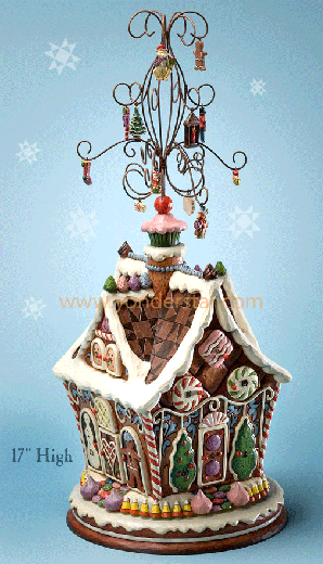 "Jim Shore Christmas gingerbread house Advent calendar is a unique Christmas gift, standing 17.25"" high, on a revolving base.  It's brown (like a good gingerbread house should be), and is decorated with icing-looking embellishments.  Just beautiful!"