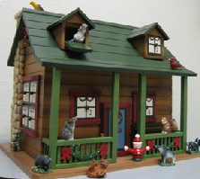 Green roof with two gabled windows; a large front porch with brightly decorated windows, this woodlands cabin Advent calendar houses 24 forest animals in its drawers!